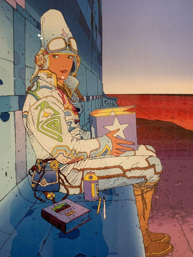 Bild von Meobius, Frau auf einer Bank