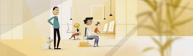 Illustration, Menschen im Büro, freundliche Stimmung